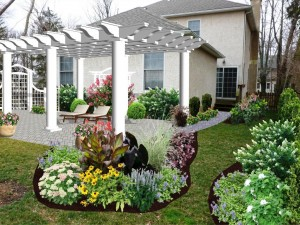 Landscaped Garden with Realistic Photographic Image Design