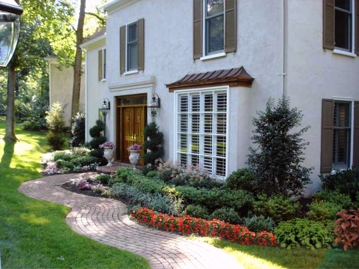 Inviting curb appeal at this Main Line residential garden designed and installed by Aardweg Landscaping