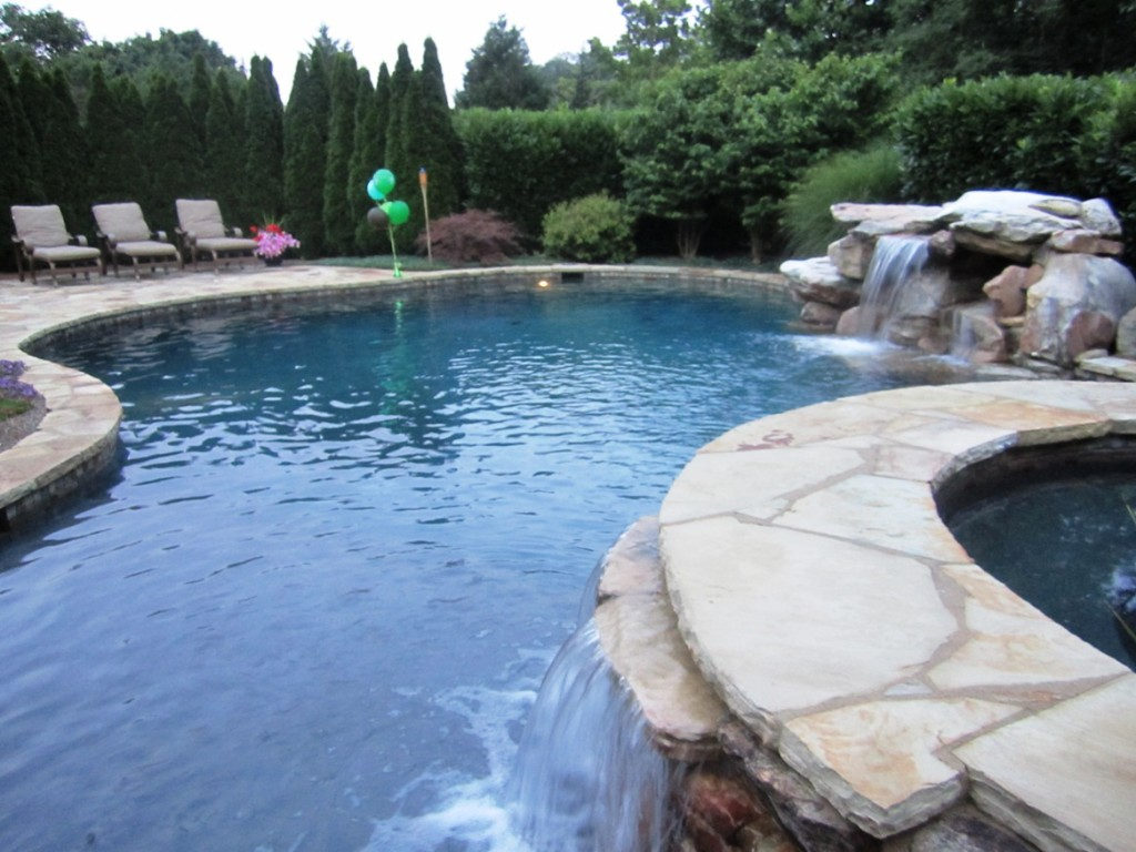 Backyard Pool & Landscaped Garden Design Perfect for a Main Line Residence