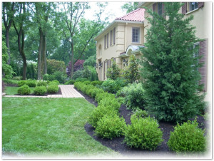 Williamsburg style garden design Main Line Philadelphia PA