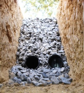 front and backyard flooding and drainage issues at your Philadelphia home - Typical Cross-section of a French Drain