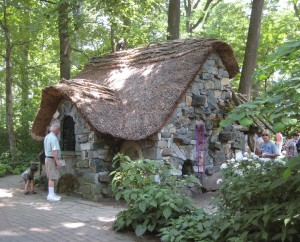 "A stone cottage in the ""Enchanted Garden"" section of the grounds, opened in 2001 at Winterthur, Maryland, USA"
