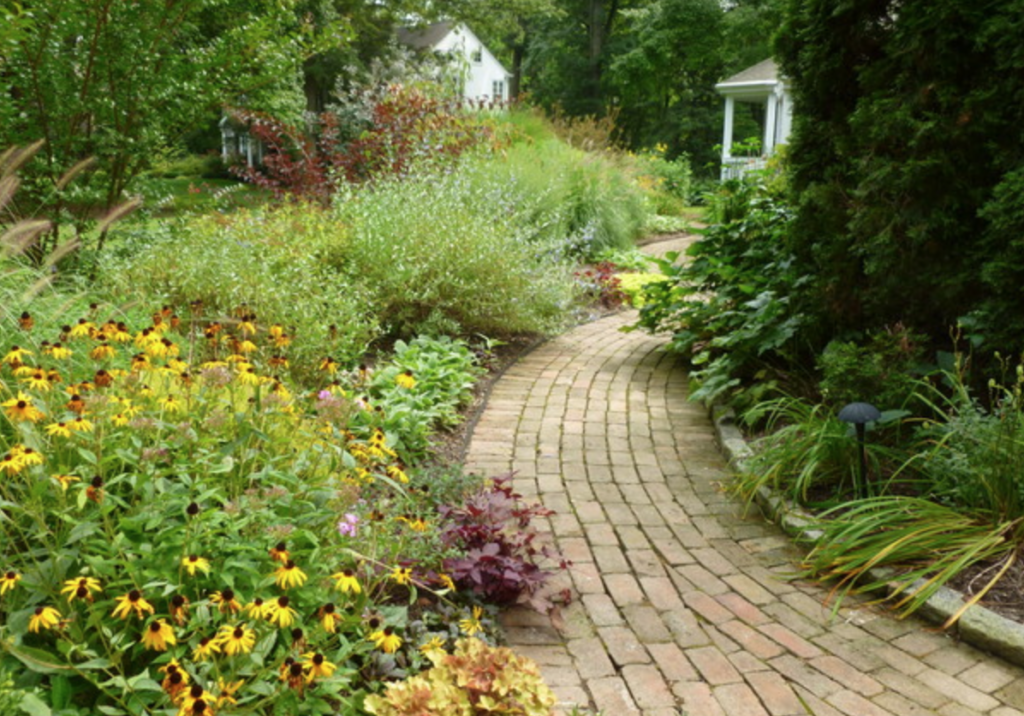 a walkway lined with flowers and plants