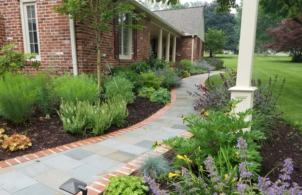 Redesigned front yard and walkway in PA